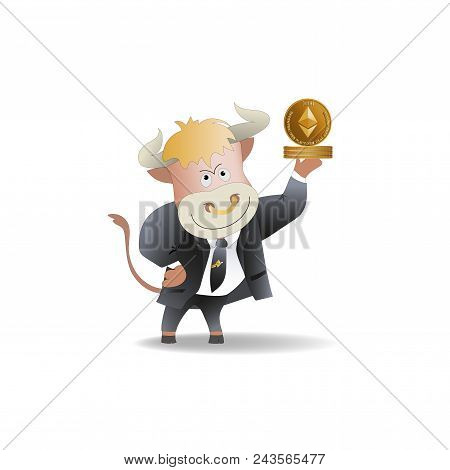Bull Businessman Demonstrates Ephyrium. Cryptography, An Illustration Of Financial Technologies, The