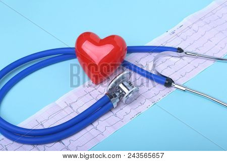 Blank Rx Prescription, Stethoscope And Red Heart. Concept For Healthcare And Medicine