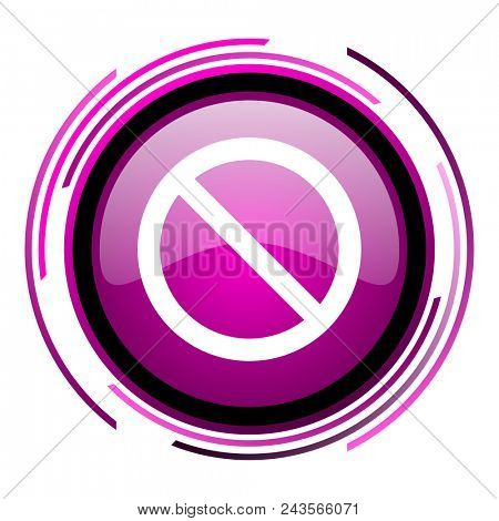 Access denied pink glossy web icon isolated on white background