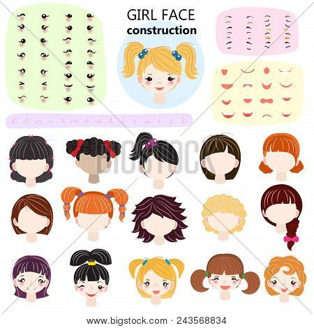 Girl Face Constructor Vector Kids Character Avatar And Girlish Creation Head Lips Or Eyes Illustrati