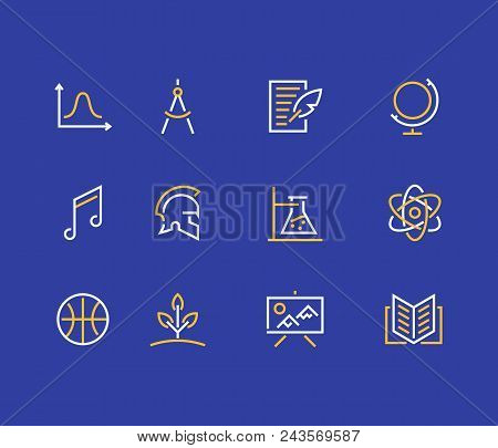 School subjects line icons. Education signs. Physics, math, geometry, literature music biology chemistry poster