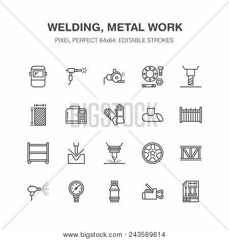 Welding Services Flat Line Icons. Rolled Metal Products, Steelwork, Stainless Steel Laser Cutting, F
