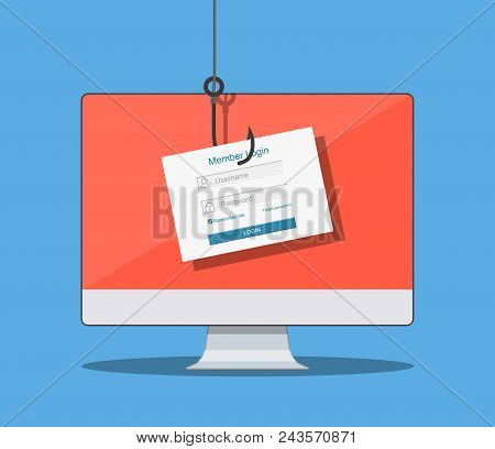 Login Into Account And Fishing Hook. Internet Phishing, Hacked Login And Password.computer Internet