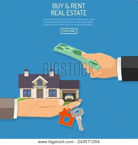 Buy, Sale, Purchase, Lease, Rent Of Real Estate Concept. Hand With Money And Hand With House And Key