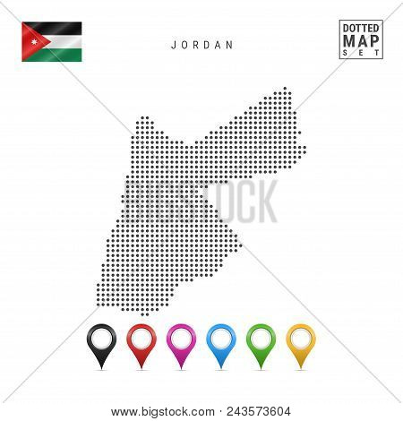 Dotted Map Of Jordan. Simple Silhouette Of Jordan. The National Flag Of Jordan. Set Of Multicolored
