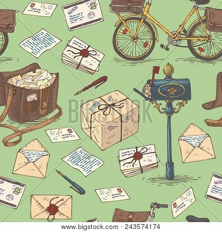 Postal Service. Mail Delivery. Seamless Pattern With Bicycles, Envelopes, Mailbox, Parcels And Lette