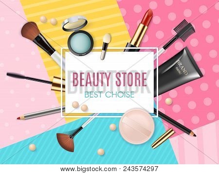 Makeup Template Beauty Store With Collection Of Realistic Beauty Decorative Cosmetics And Makeup Too