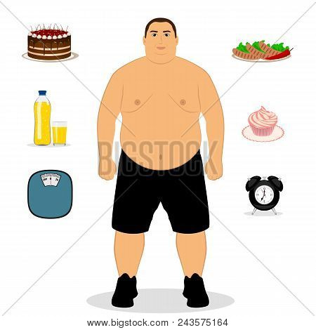 Fat man. Unhealthy Lifestyle. Wrong mode of the day. Unhealthy food. The man gained weight. Isolated objects. Vector illustration poster