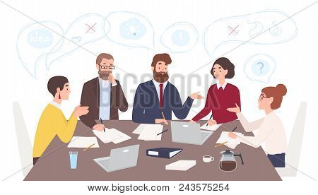 Men And Women Dressed In Business Clothes Sitting At Table And Discussing Ideas, Exchanging Informat