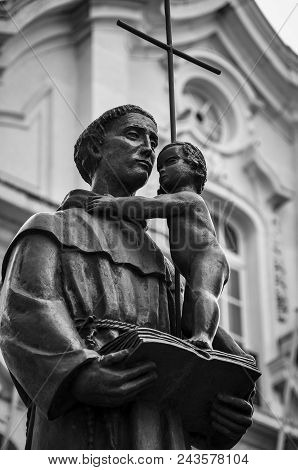 The Statue Of Saint Anthony In Front Of The Saint Anthony Church In The City Of Lisbo, Portugal. Sai