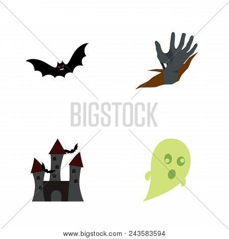 Icon Flat Halloween Set Of Castle, Bat, Corpse Hand Vector Objects. Also Includes Creepy, Superstiti