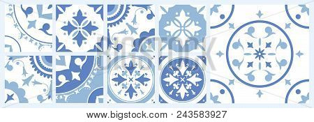Bundle Of Ceramic Square Tiles With Various Traditional Oriental Patterns. Set Of Mediterranean Deco