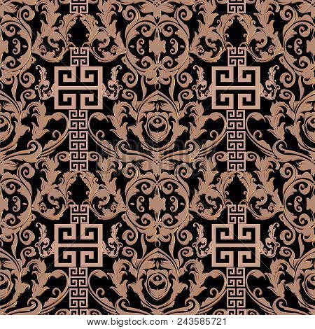 Baroque Seamless Pattern. Damask Background Wallpaper Illustration With Geometric Elements, Meander,