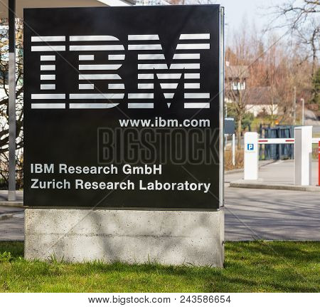 Ruschlikon, Switzerland - April 2, 2018: A Stele At The Entrance To Ibm Research - Zurich. Ibm Resea