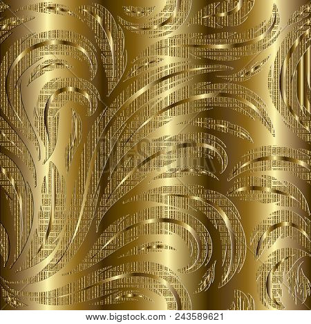 Floral Gold 3d Seamless Pattern. Golden Striped Flourish Background Wallpaper Illustration With Vint