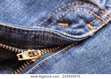 Blue Jeans With Zipper. Denim Jeans Texture Or Denim Jeans Background. Denim Jeans For Fashion Desig