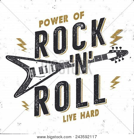 Vintage Hand Drawn Rock N Roll Poster, Rock Music Poster. Hard Music Tee Graphics Design. Rock Music