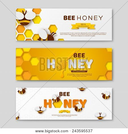 Bee Honey Horizontal Banners With Paper Cut Style Letters, Comb And Bees. Vector Illustration.