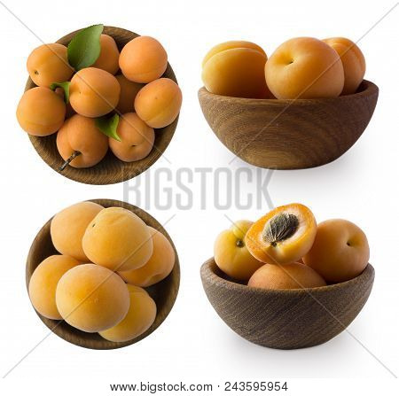 Set Of Apricots Isolated On White Background. Ripe Apricots With Copy Space For Text. Top View. Apri