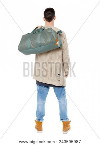 Back view of a man with a green bag.  backside view of person.  Rear view people collection. Isolated over white background. Brunet threw a sports bag on his back poster