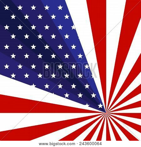 Patriotic Background Of The American Flag With Stars And Rays Stripes Creative Concept On The Us Ind