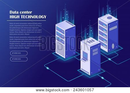 Web Hosting And Big Data Processing, Server Room Rack. Data Center, Cloud Storage Technology. Isomet