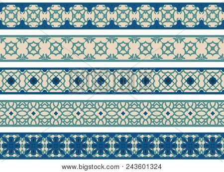 Set Of Five Illustrated Decorative Borders Made Of Abstract Elements In Beige, Turqoise And Blue