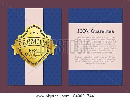 100 Guarantee Premium Best Quality Exclusive Choice Golden Award Guarantee Label Logo Isolated On Bl
