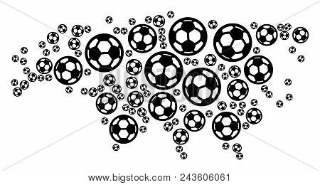 Football Eurasia Map. Vector Territorial Plan Composed From Football Spheres In Various Sizes. Abstr
