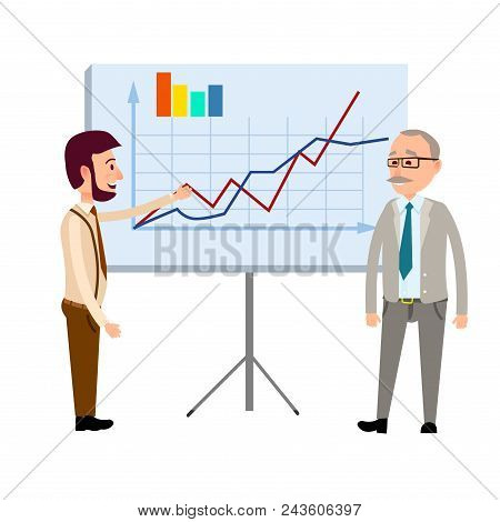 Two Businessmen Standing Near Blackboard With Graphs, Curves And Diagram Infographics Flat Vector On