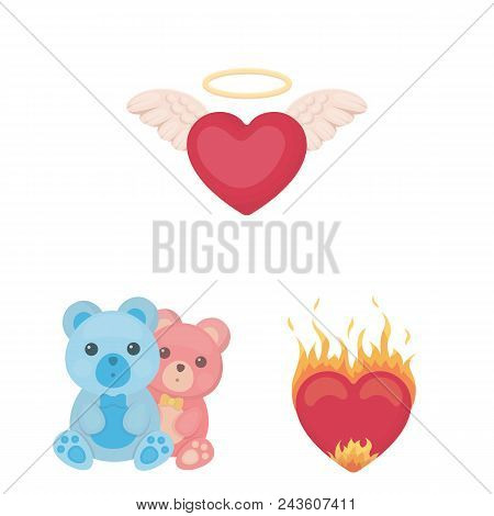 Romantic Relationship Cartoon Icons In Set Collection For Design. Love And Friendship Vector Symbol