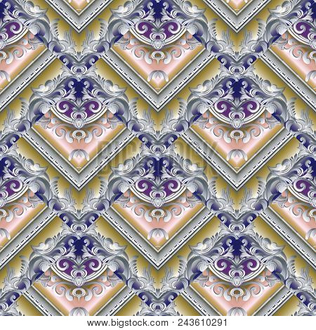 Baroque Seamless Pattern. Damask Floral Background. Modern 3d Wallpaper. Vintage Design With Meander