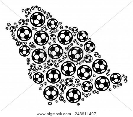 Football Saudi Arabia Map. Vector Territory Plan Created From Soccer Spheres In Different Sizes. Abs