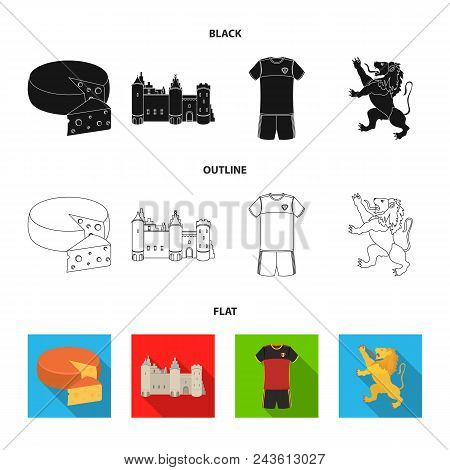 Cheese, Lion And Other Symbols Of The Country.belgium Set Collection Icons In Black, Flat, Outline S