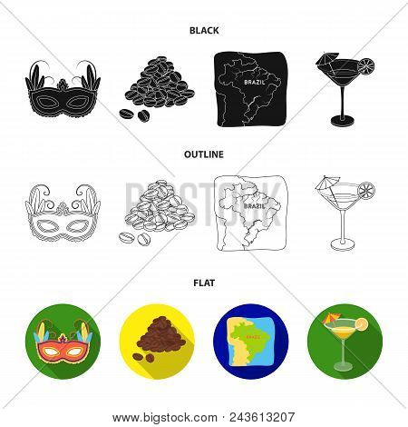 Brazil, Country, Mask, Carnival . Brazil Country Set Collection Icons In Black, Flat, Outline Style