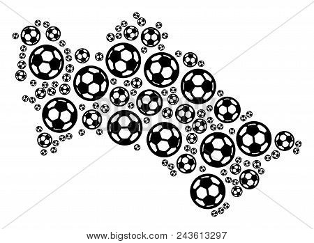Football Turkmenistan Map. Vector Territorial Scheme Made From Football Balls In Variable Sizes. Abs