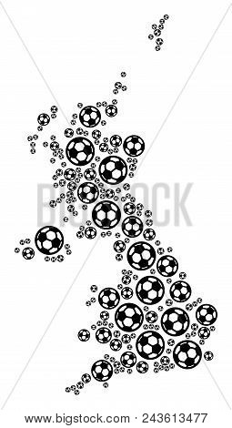 Football United Kingdom Map. Vector Geographic Scheme Built From Football Spheres In Different Sizes