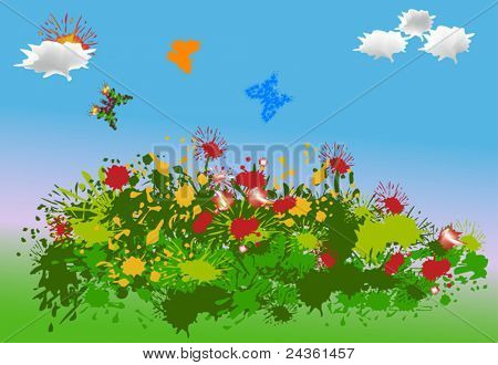 illustration with painted butterflies and flowers landscape