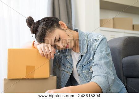 Tired Young Asian Casual Woman Working Small Business Online Packing Her Sleep ,  Overworked, Lazy T