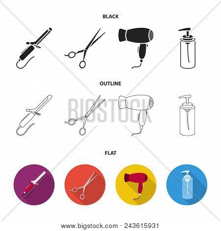Hairdryer, Hair Dryer, Lotion, Scissors. Hairdresser Set Collection Icons In Black, Flat, Outline St