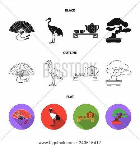 Fan, Red Crown Crane, Tea Ceremony, Bonsai.japan Set Collection Icons In Black, Flat, Outline Style