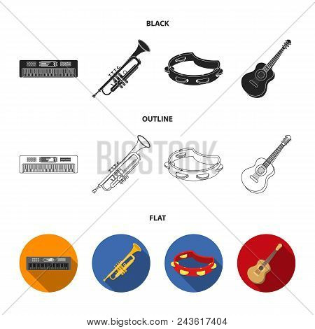 Electro Organ, Trumpet, Tambourine, String Guitar. Musical Instruments Set Collection Icons In Black