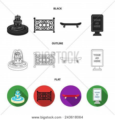 Fountain, Fence, Skate, Billboard.park Set Collection Icons In Black, Flat, Outline Style Vector Sym