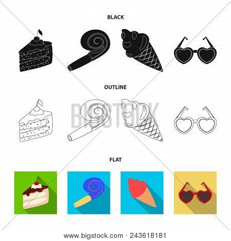 Refreshments And Other Accessories At The Party.party And Partits Set Collection Icons In Black, Fla