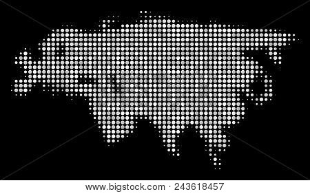 Eurasia Map Mosaic Of Circle Elements On A Black Background. Vector Filled Circles Are Grouped Into
