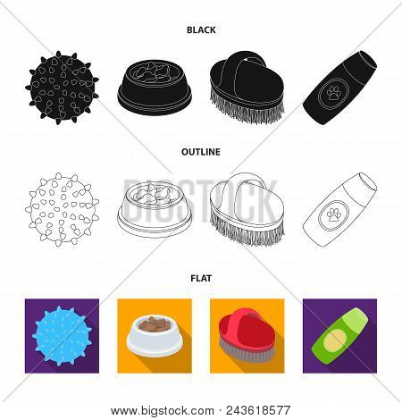 The Ball, Feed, Shampoo And Other Zoo Store Products. Pet Shop Set Collection Icons In Black, Flat,