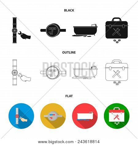 Water Meter, Bath And Other Equipment.plumbing Set Collection Icons In Black, Flat, Outline Style Ve