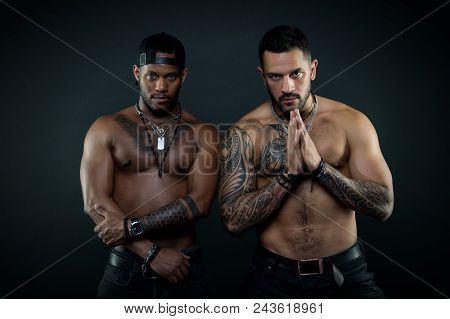 Athletes On Confident Faces With Nude Muscular Chests.machos With Muscular Tattooed Torsos Look Attr