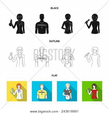 Woman Chemist, Football Player, Hotel Maid, Singer, Presenter.profession Set Collection Icons In Bla