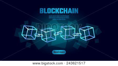 Blockchain Cube Chain Symbol On Square Code Big Data Flow Information. Blue Neon Glowing Modern Tren